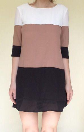 white coffee black color block dress sheinsheinside