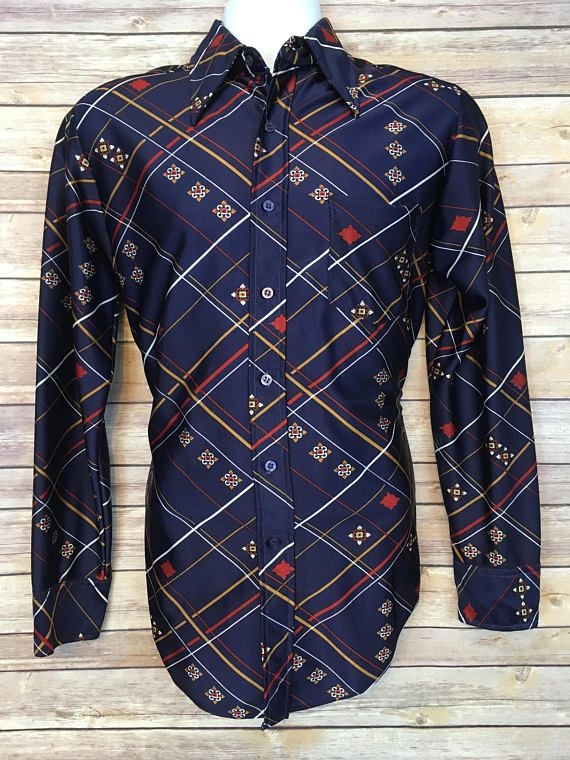 70s VINTAGE BLOUSE French Art Nuveau Print Motif Pattern SHIRT with Pointy Collar Retro
