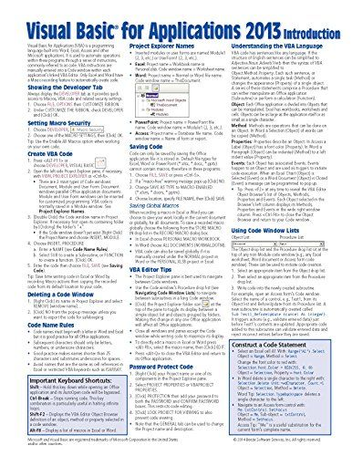 Visual Basic for Applications (VBA) 2013 Quick Reference Guide ...