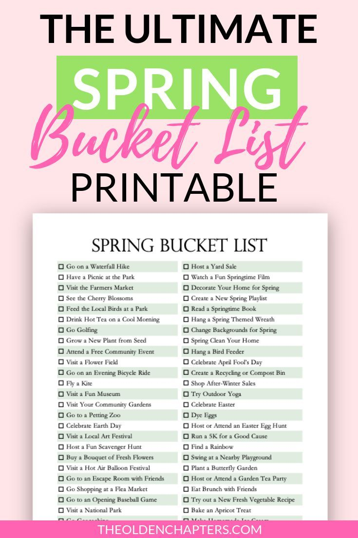 The Ultimate Spring Bucket List Printable