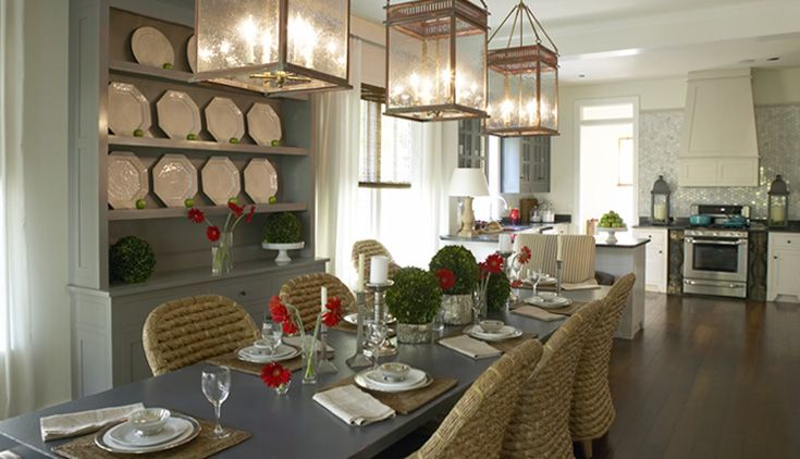 Natural  Woven Dining Chairs Open Floor Plan Three Light Brilliant French Country Dining Room Decorating Ideas 2018