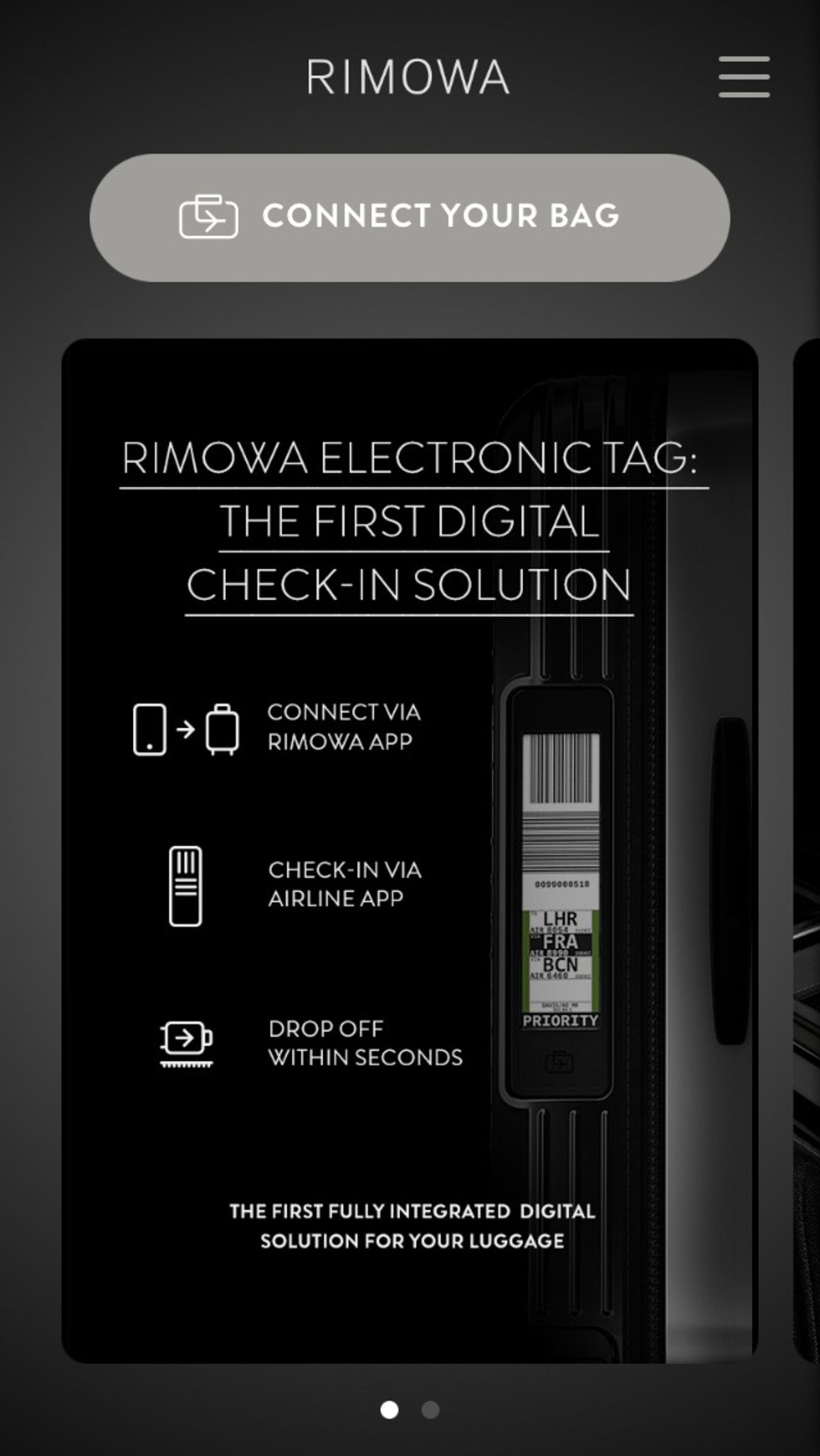 Rimowa Electronic Tag Smart Suitcase with Digital Baggage Tag
