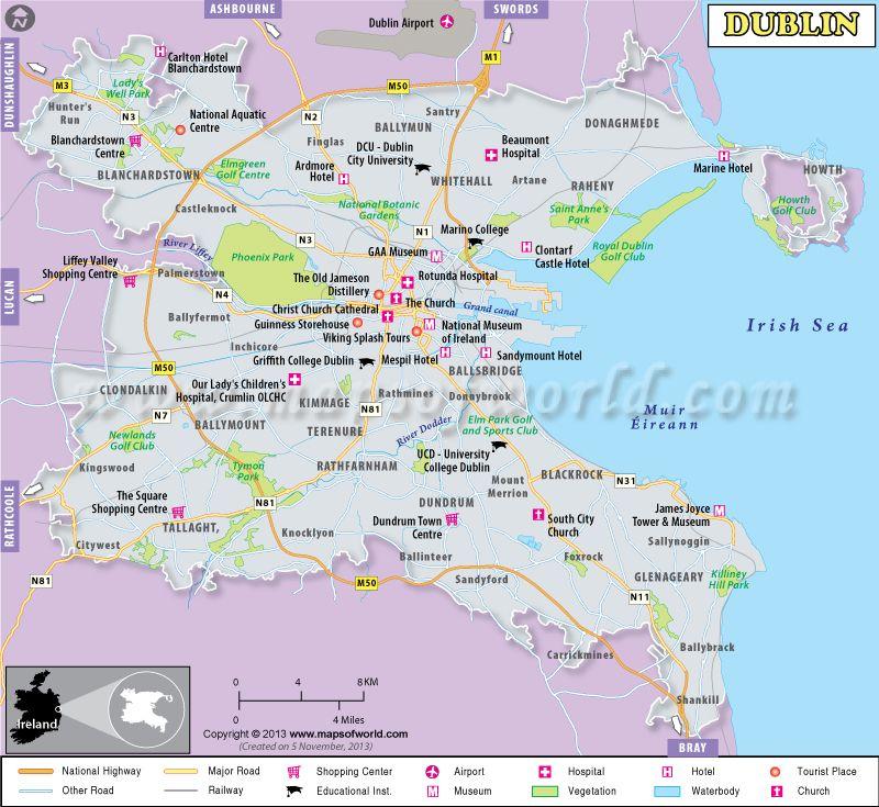 Dublin map - Capital of Ireland shows major landmarks, tourist ... on