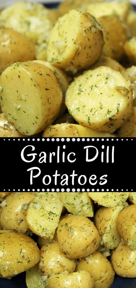 These Garlic Dill Potatoes are easy to make, and easy on the budget. This recipe requires just a few ingredients and it's quick to make; a perfect side dish for busy weeknights. Pair the garlic dill potatoes with chicken, pork or beef for a simple and delicious side dish. #garlicdillpotatoes #potatoes #sidedishes #sides #easysides #chickensidedishes
