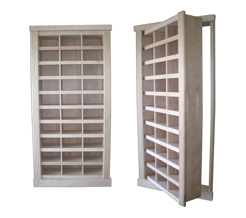 Project Type: Built In Shoe Rack Wood Species: Cherry Finish Type:  Unfinished Additional Features: Electromagnetic Locking System.