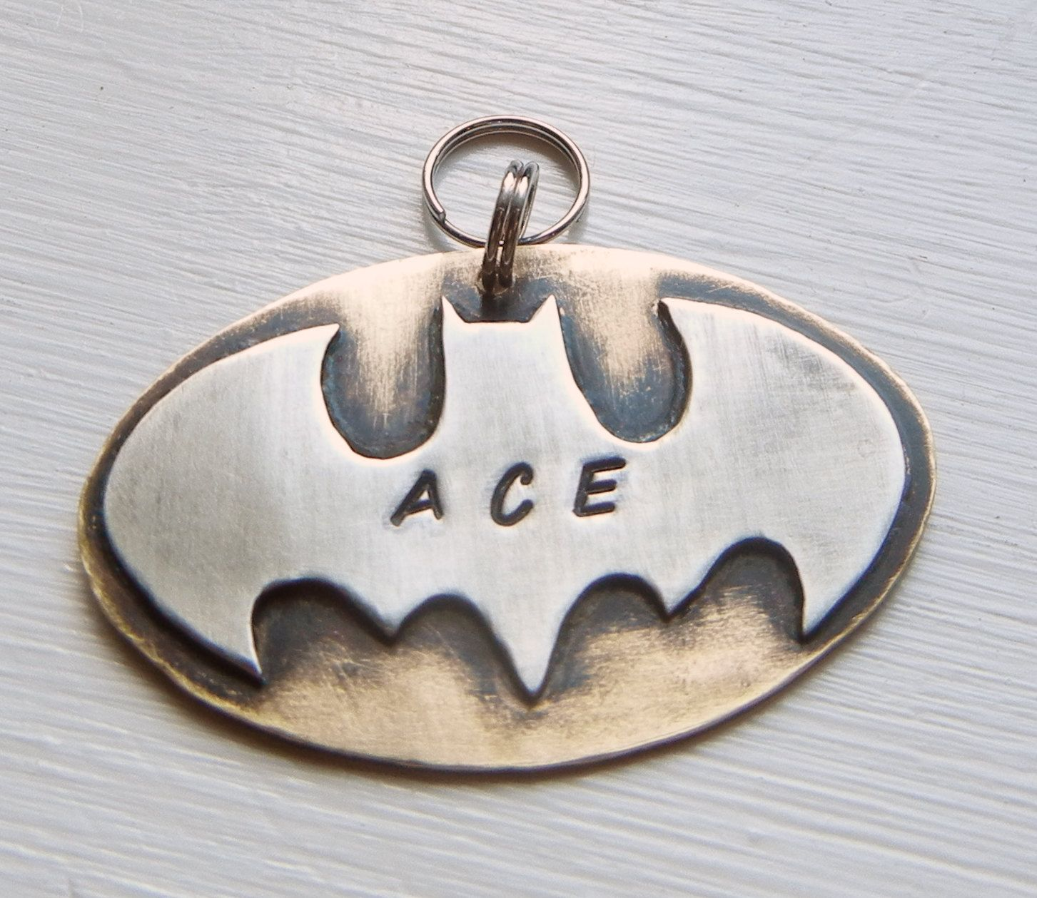 BATMAN dog name tag pet id tag. Handcrafted brass and ...