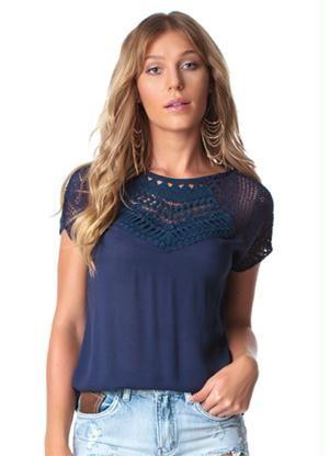91561a1f4 Blusa de Viscose Lisa (Marinho) Doce Trama | Design | Blusas de ...