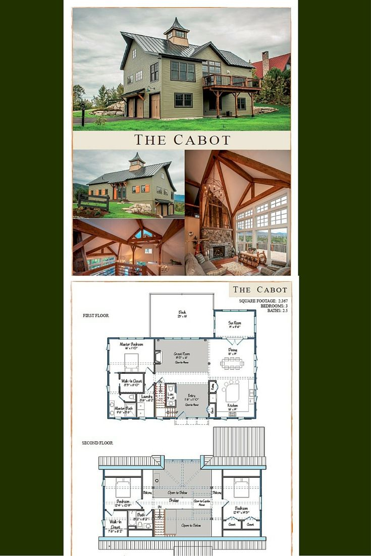 Cabot barn home barn homes house and design for Open concept post and beam house plans