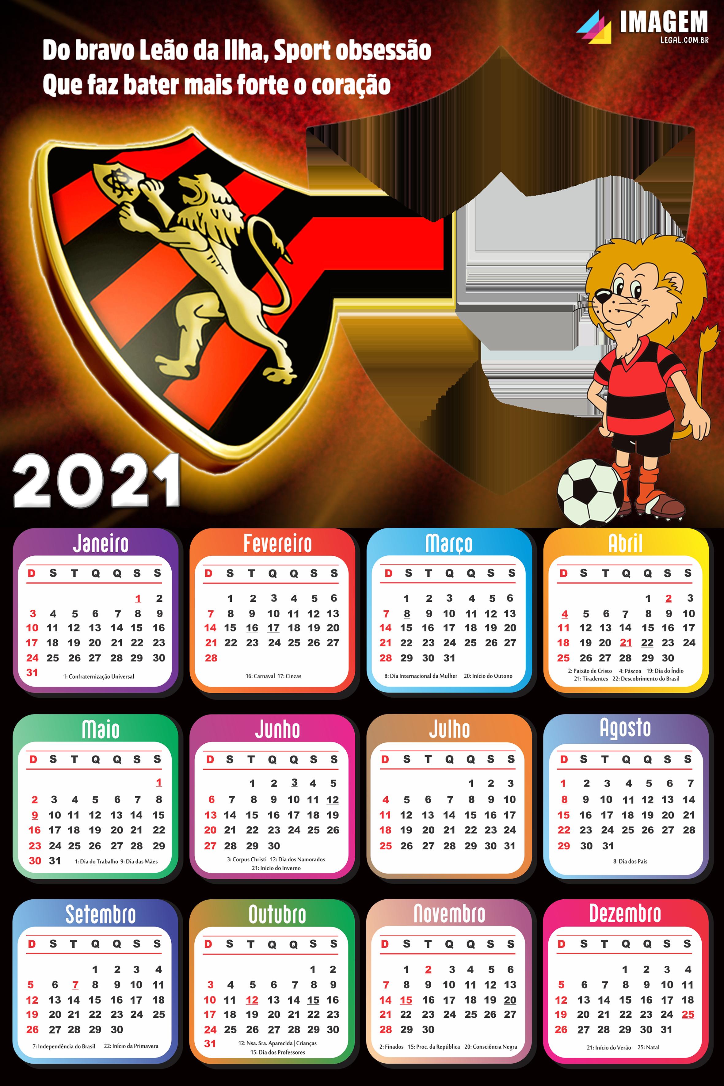 Calendário 2021 Sport Club do Recife Imagem Legal em