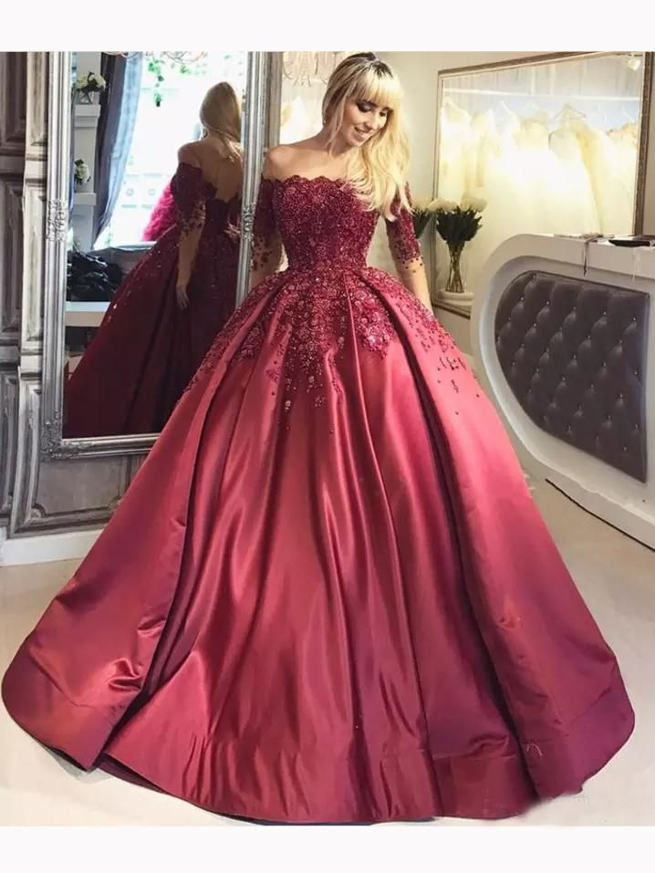 Chic Ball Gowns Burgundy Off-the-shoulder Half Sleeve Satin Chic Prom –  AmyProm d9595d306