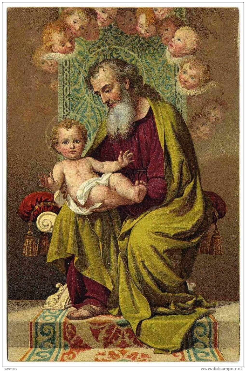 St. Joseph & Child Jesus   Jesus prints, Joseph, Catholic images