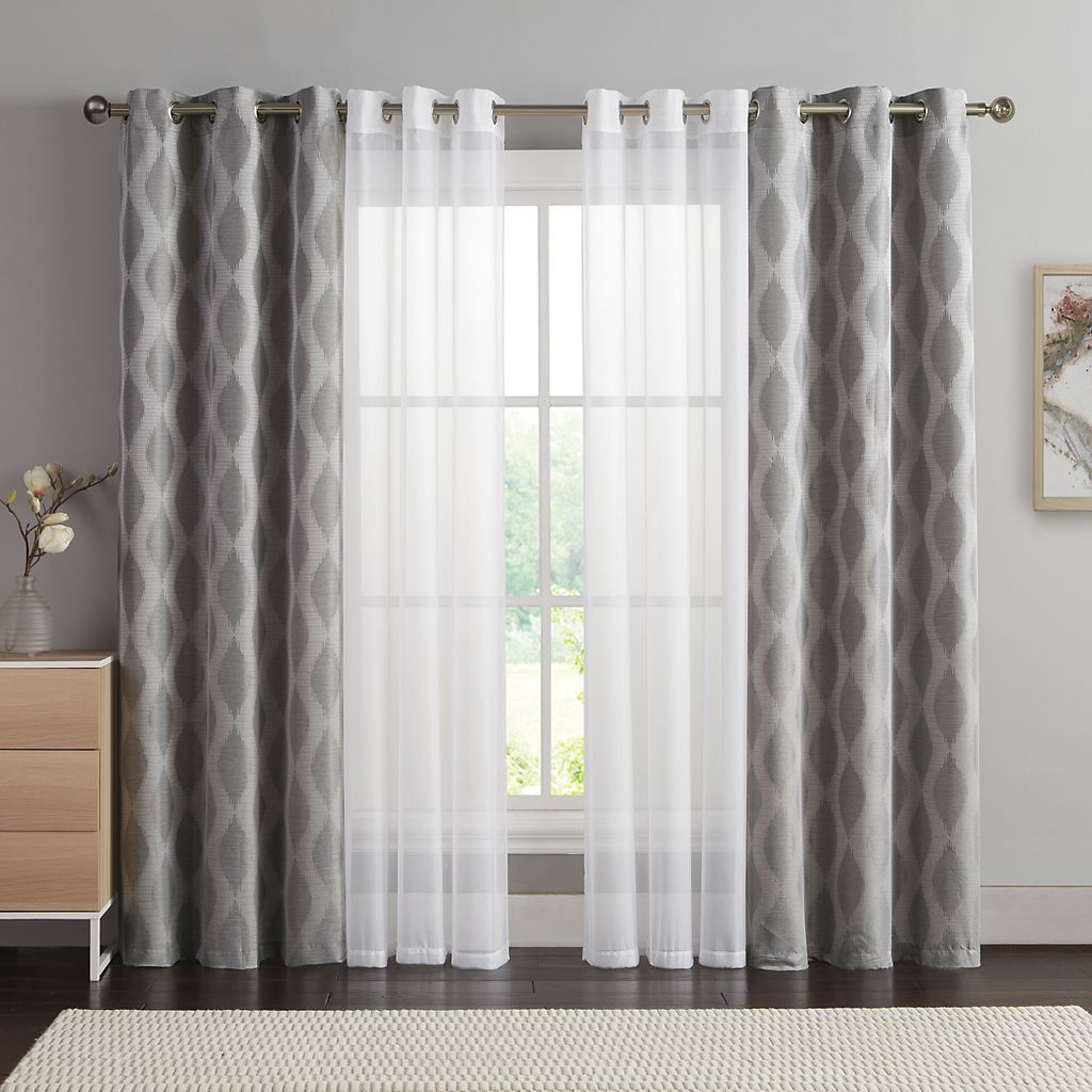 Curtain For Double Window Vcny 4 Pack Jasper Double Layer Curtain Set Home Design