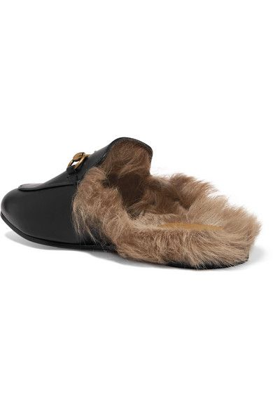 540abce85 Gucci - Princetown Horsebit-detailed Shearling-lined Leather Slippers -  Black
