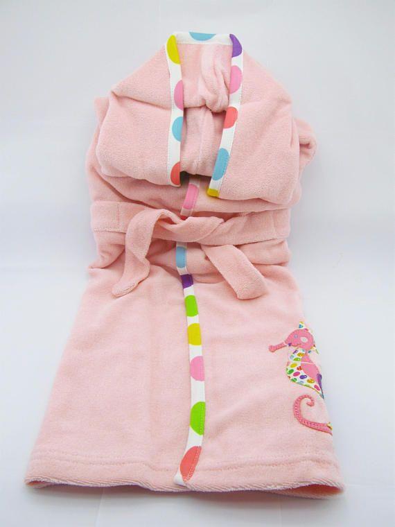 8981c68f25b7 Organic hooded bathrobe for girls pink Bath robe toddler