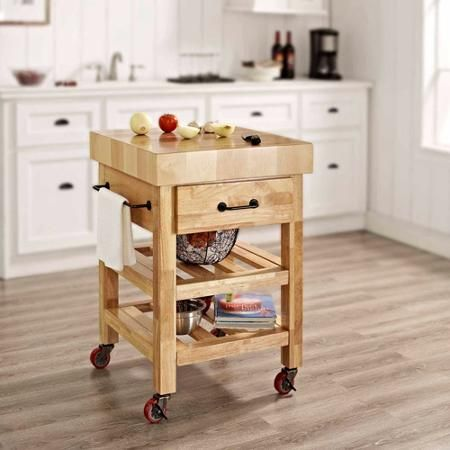 Drawing Of Get Practical And Movable Carts With Butcher Blocks On Wheels Butcher Block Island Kitchen Wood Kitchen Butcher Block Kitchen