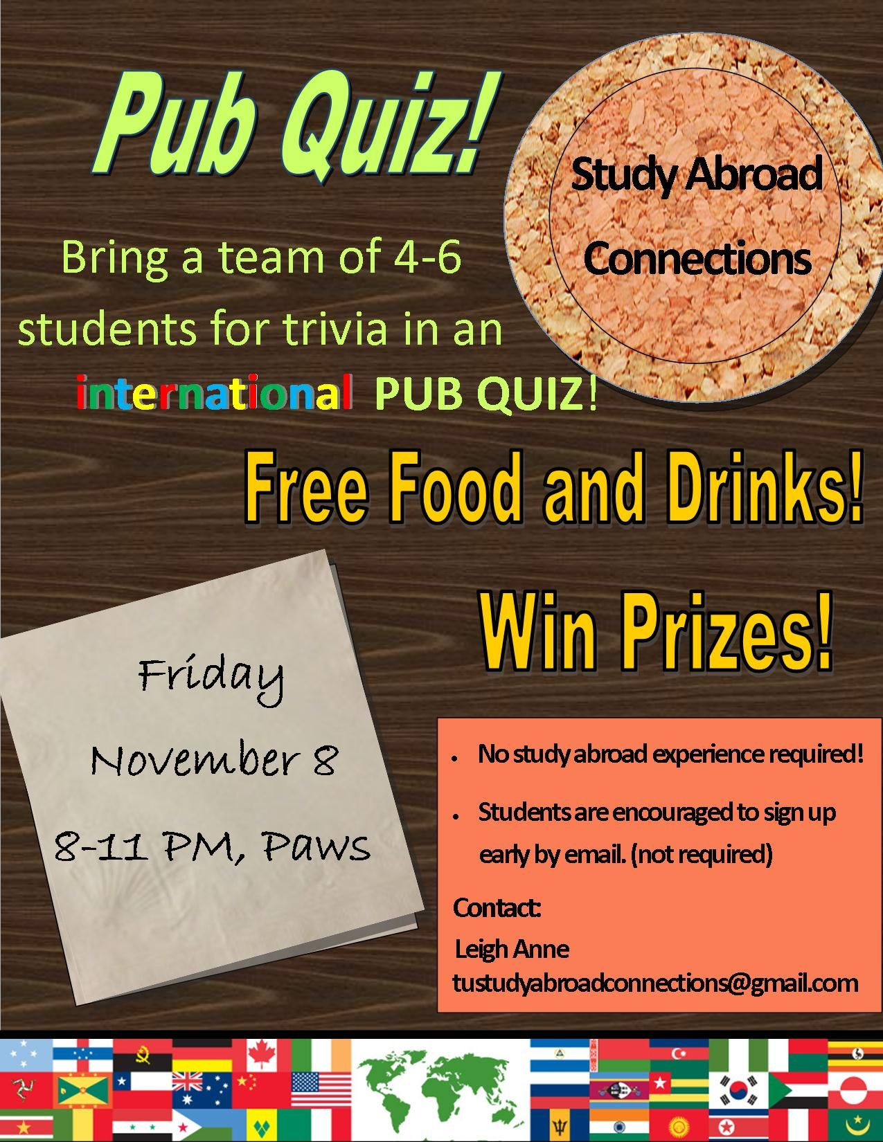 Come Out To The International Pub Quiz Hosted By Study