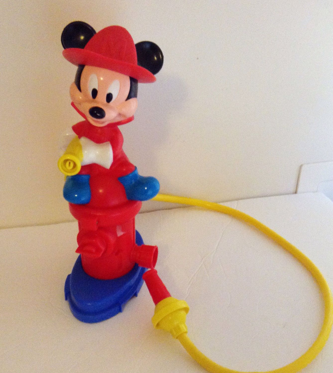Vintage Mickey Mouse Fire Man Water Hose Sprinkler Outdoor Toy