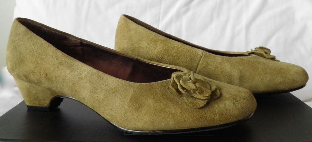 THE SHOE TAILOR Suede Leather Flower High Heel Shoes Womens Ladies UK 6 Wide Fit 05.50