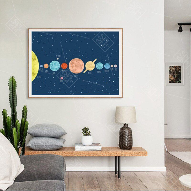 Planet Solar System Posters And Prints Nordic Style Kids Room Wall Art Pictures For Living Room Home Decoration Canvas Painting Kids Room Wall Art Kids Room Wall Room Wall Art #posters #for #living #room #walls