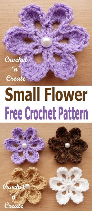 Crochet Small Flower Applique Add To Blankets Bags Clothing Etc