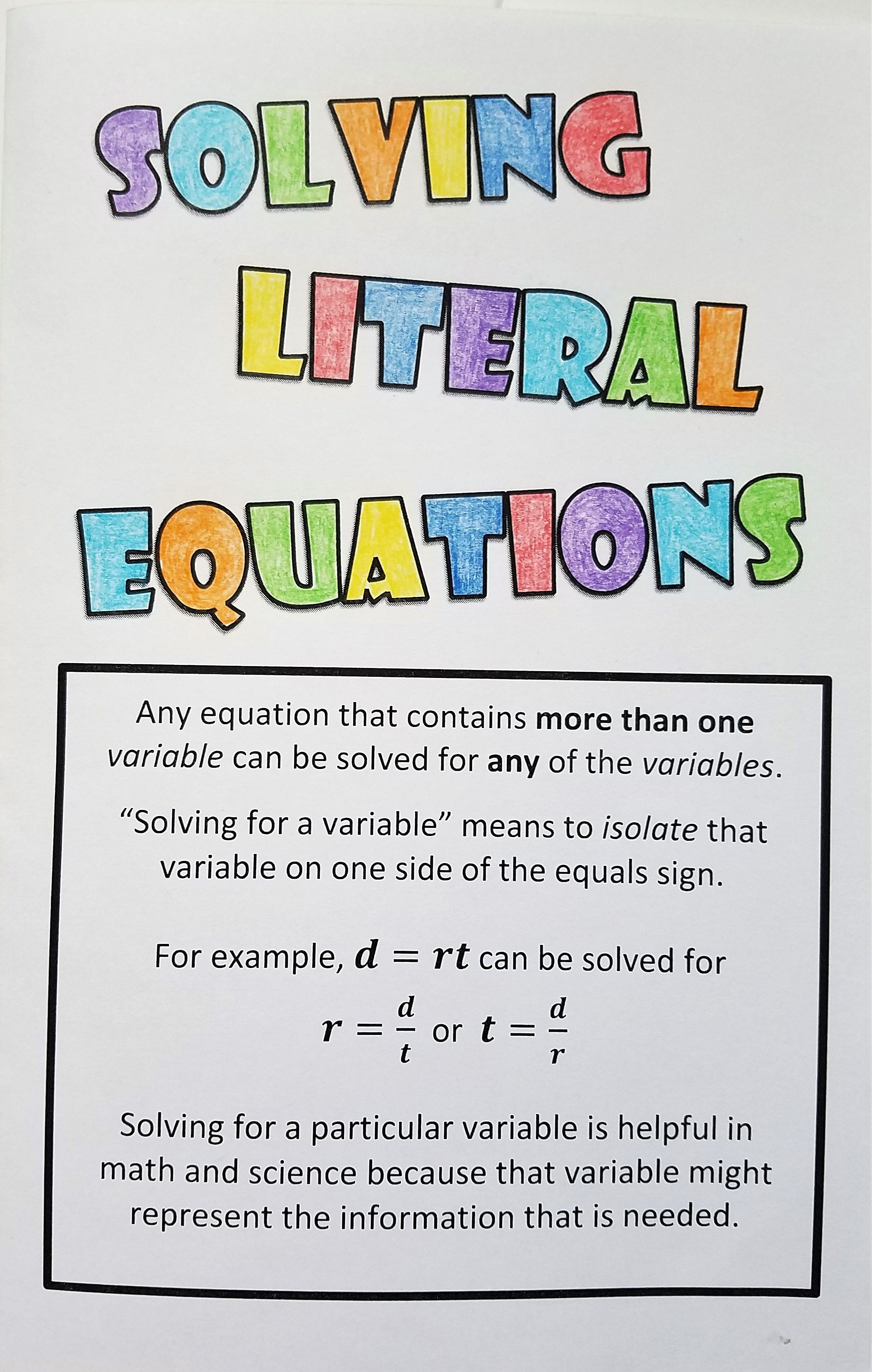 Literal Equations Notes A12e