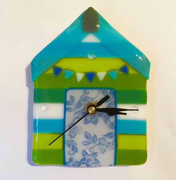 Beach Hut Wall Clock Unique wall Clock Fused Glass by HeleOkoe