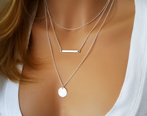 Monogram Silver Layering Necklace Layered Necklace Skinny Bar