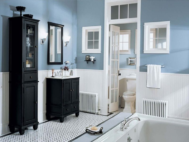 Neutral Blue WHite Bathroom Design With Black Vanities Home Depot Masculine  Guest Bath
