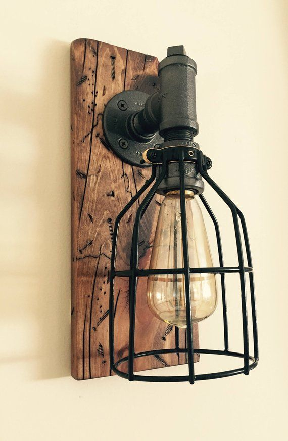Industrial Modern Rustic Wood Handmade Wall Light Fixture Sconce Lamp Wall Sconce Wall Light Fixtures Sconces Farmhouse Wall Sconces Industrial Light Fixtures