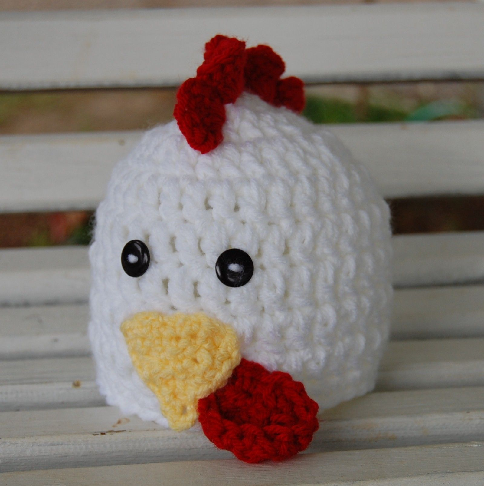 Crochet Rooster Hat In White Also Available In Brown Hats