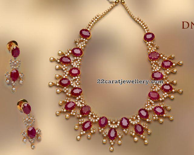 af04e2e057c2b Ruby Diamond Set by Tibarumal Jewels | Ruby Necklace jewellery ...