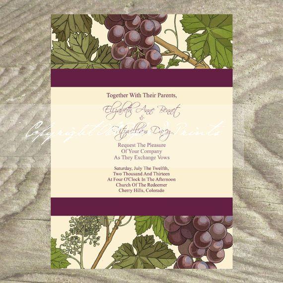 Wedding Invitation Art Nouveau Grapes by OldPaperAndPrints, $13.50