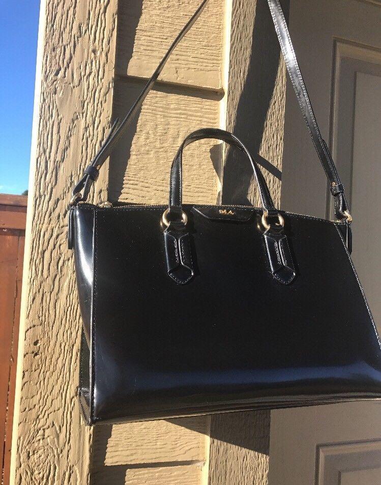 Rll Black Patent Leather Ralph Lauren Large Shoulder Handbag Tote Ebay