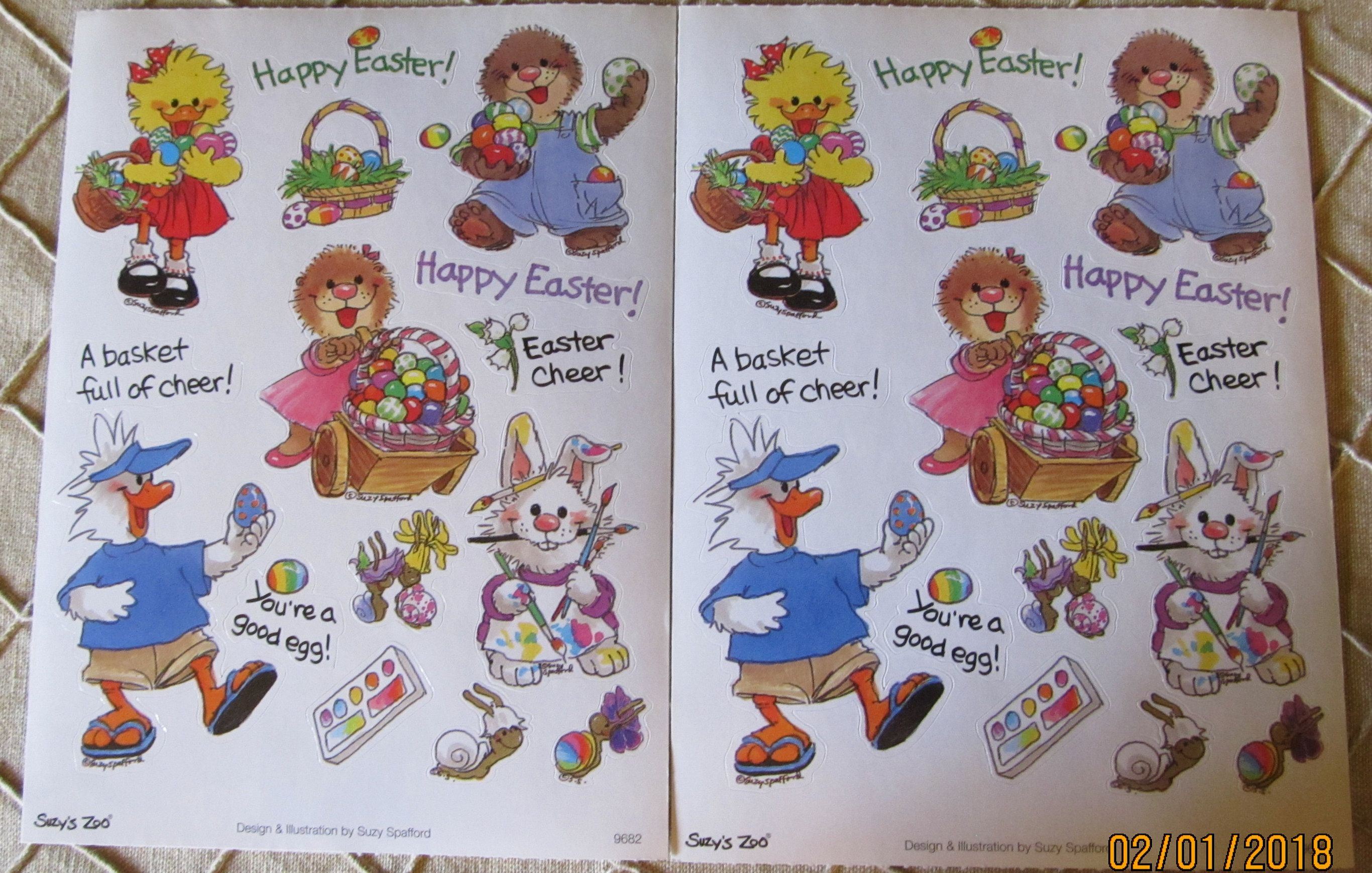 Adorable Suzy's Zoo Vintage Stickers Mint Condition!!