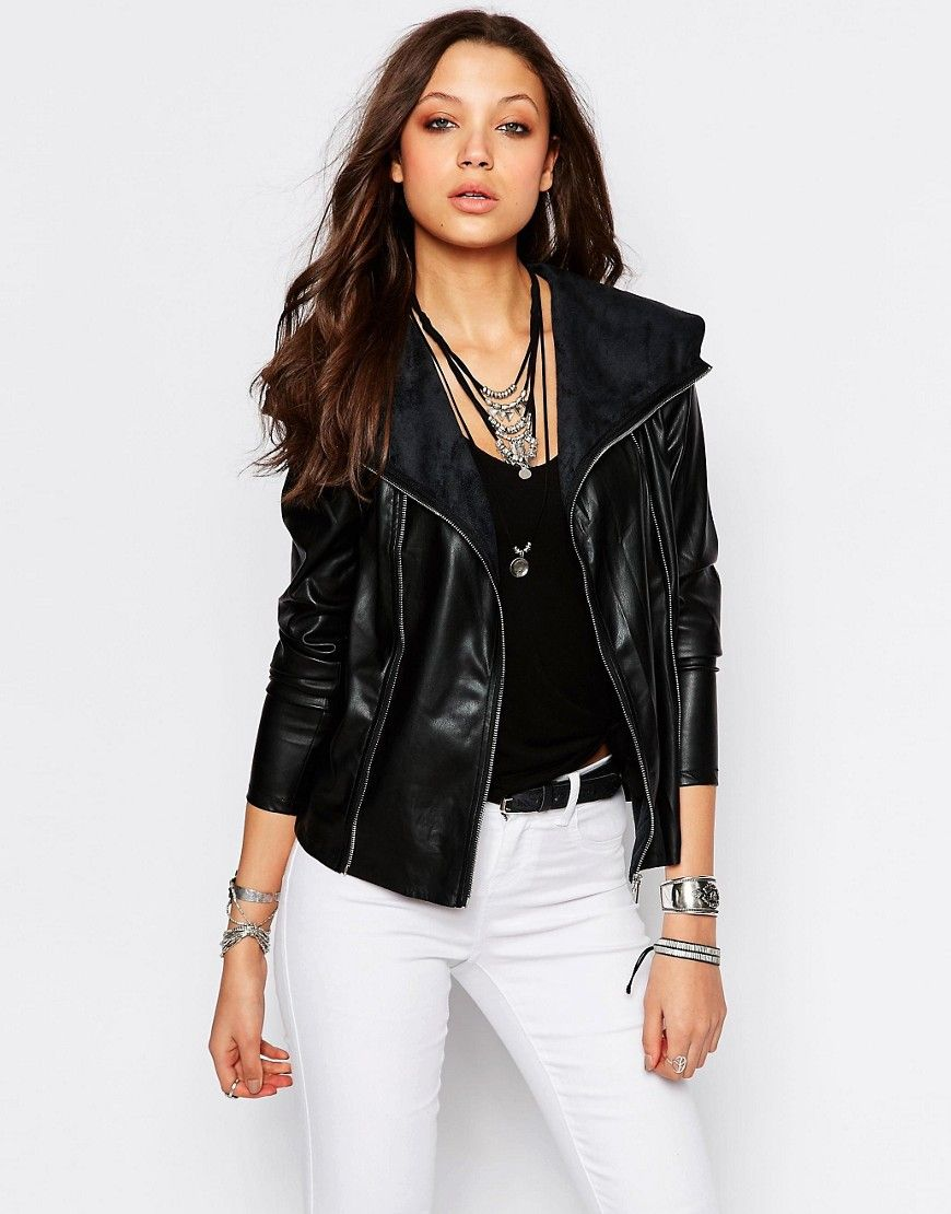 771ebd05a Noisy+May+Tall+Leather+Look+Jacket+With+Zip+Detail | Faux Leather ...