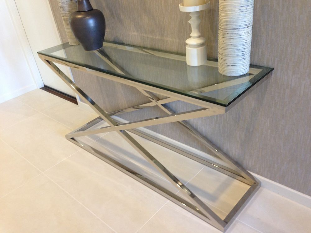 Modern Stainless Steel Glass Console Table Hall Table X Series Glass Console Table Hall Table Console Table