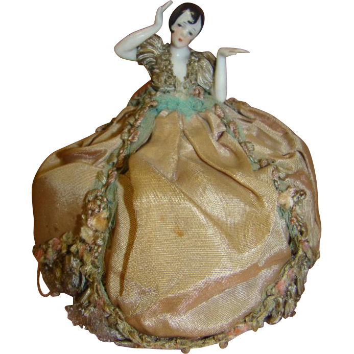Original Mounted Flapper Pincushion Doll, Arms Away