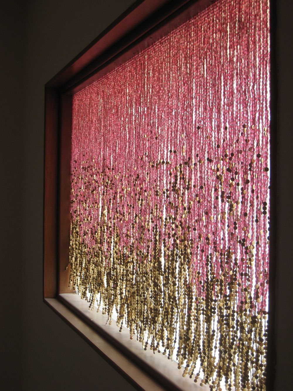 Pomegranate And Gold Glass Bead Curtain