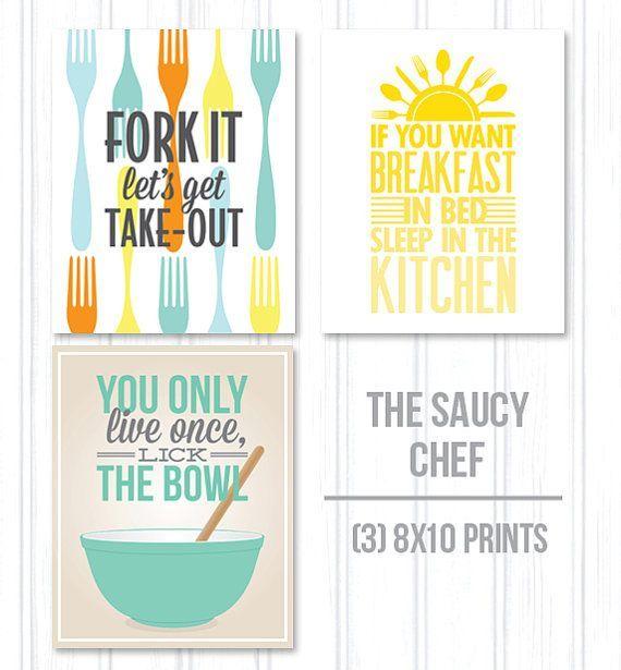 kitchen quotes, saucy chef kitchen art 3 pack - 8x10 print pack
