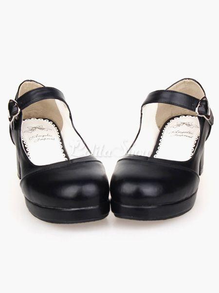a6cbb3ee738c Matte Black Lolita Square Heels Shoes Mary Jane Shoes Heart Shape ...