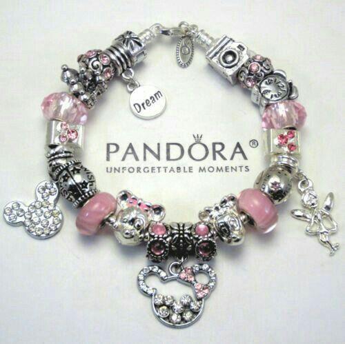 Rosa Disneyjewelry Pandora Bracelet Pink Beads Charms Jewelry
