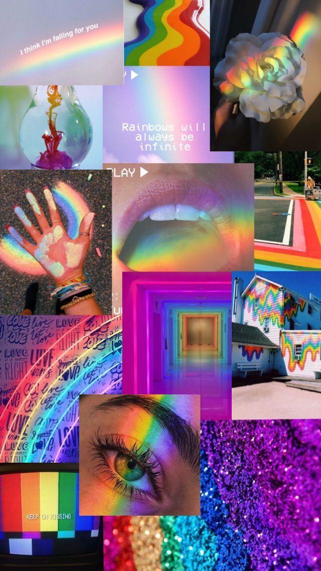 Rainbow Aesthetic Wallpaper Aesthetic Fondecrandisney Rainbow