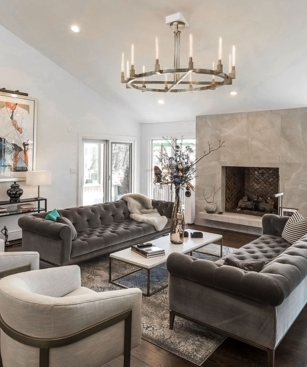 Restoration Hardware Style Inspired Gray Living Room Decor With Modern Chesterfiel In 2020 Living Room Decor Gray Velvet Sofa Living Room Chesterfield Sofa Living Room