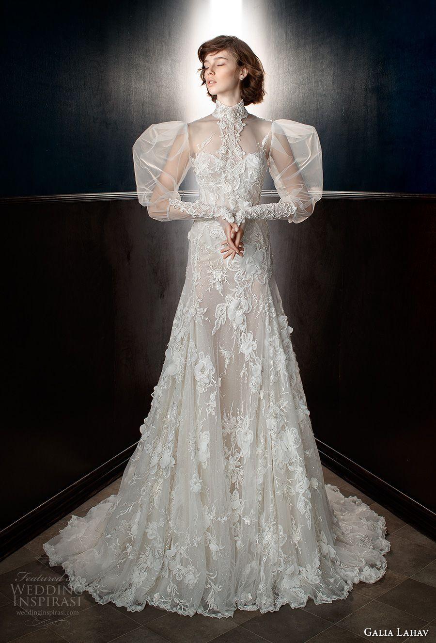 Galia lahav spring bridal puffed long sleeves high neck