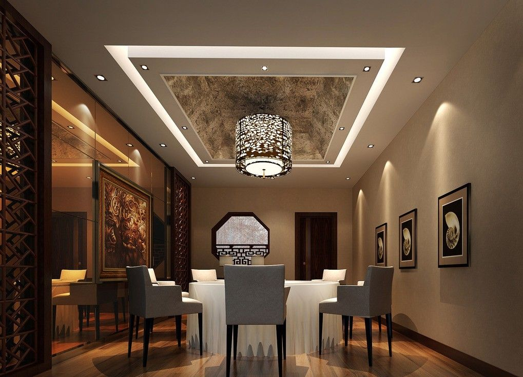 Modern dining room with wrapped ceiling design image for Dining hall wall design