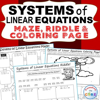 Systems Of Linear Equations Maze Riddle Color By Number Coloring