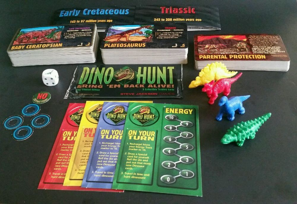 Dino Hunt 1996 Card Game Steve Jackson Complete With