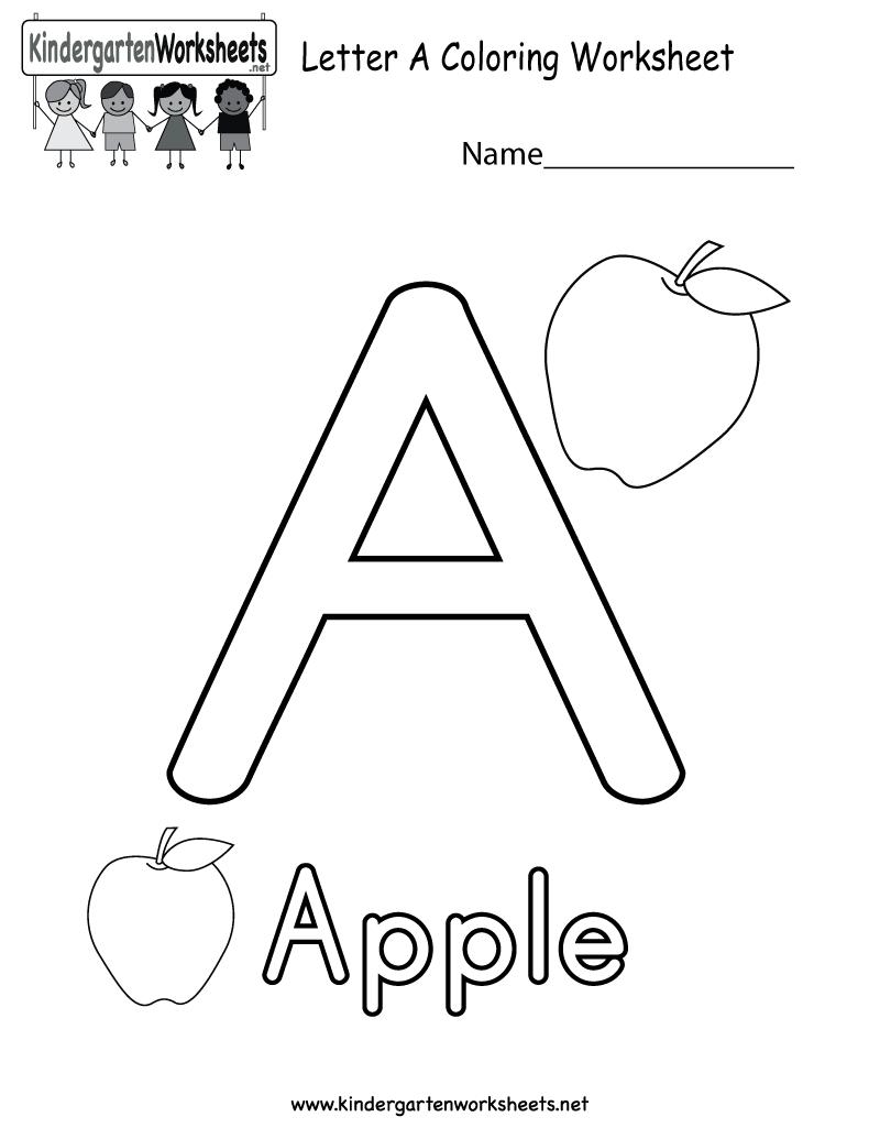 Letter A Coloring Worksheet Free Kindergarten English Worksheet For Kids Alphabet Worksheets Kindergarten Alphabet Kindergarten Alphabet Worksheets Preschool [ 1035 x 800 Pixel ]