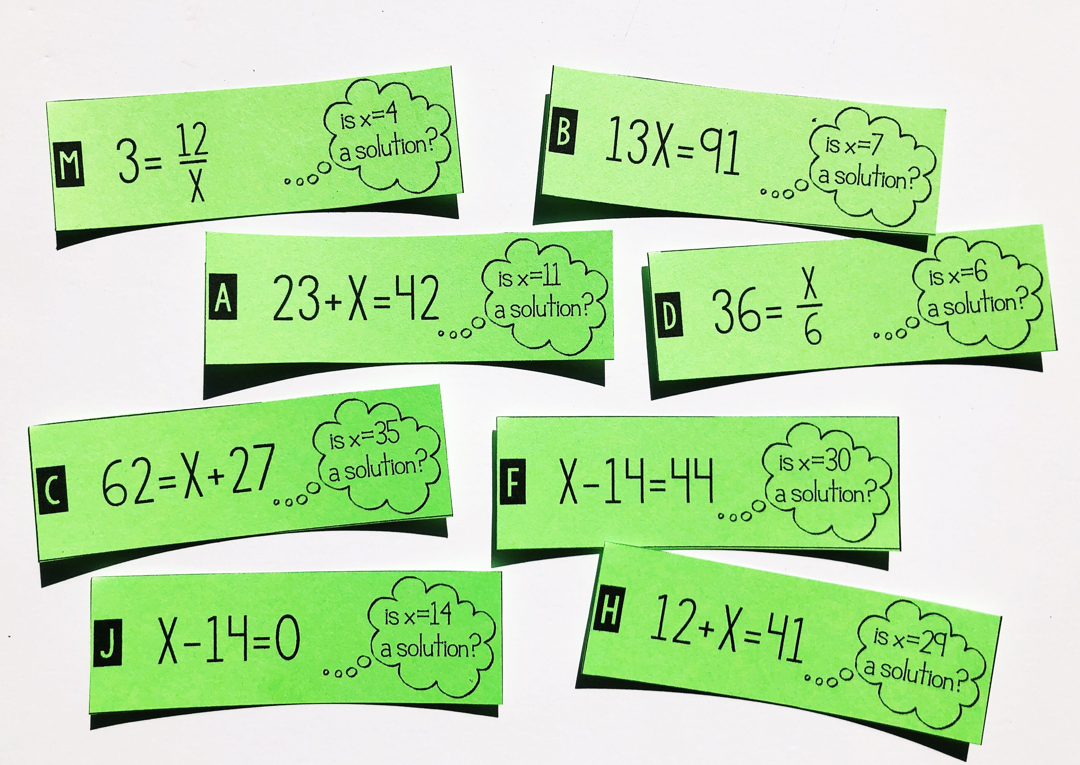 This one step equation solution or not card sort activity is the perfect  project t…   Solving equations activity [ 2596 x 3666 Pixel ]