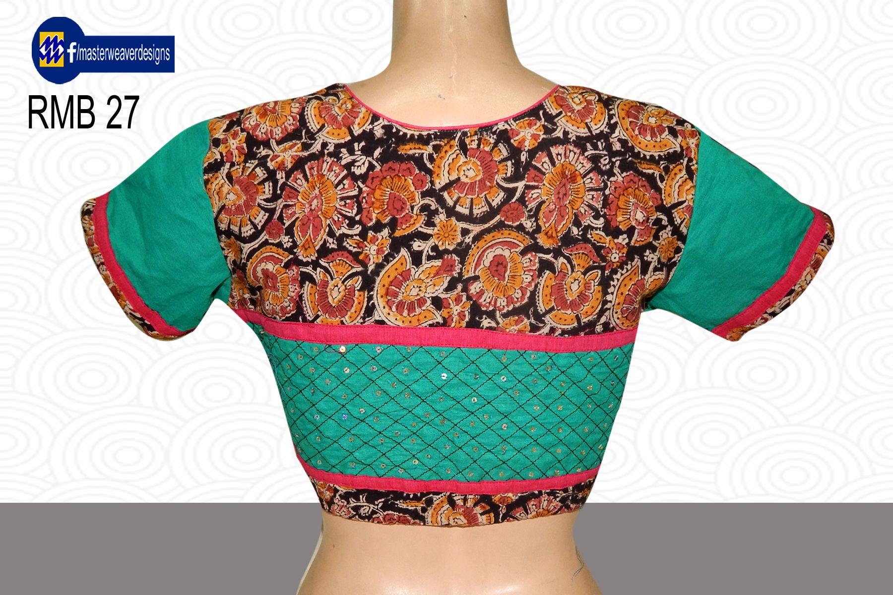Highneck Kalamkari Readymade Blouse Is Designed With Mangalagiri